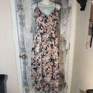 Beautiful navy floral chiffon maxi sun dress xxl